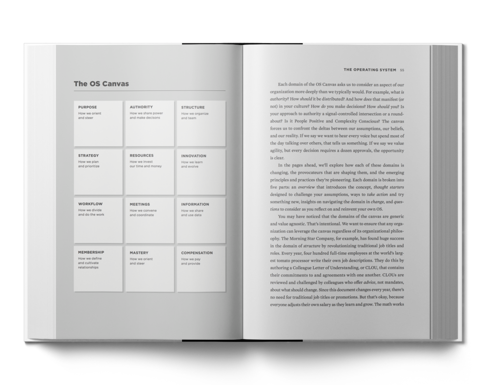 02.The Operating System. - The second part explores the principles and practices of Evolutionary Organizations through a tour of the OS Canvas, a transformative tool created to help teams see just how embedded and interconnected their way of working really is.