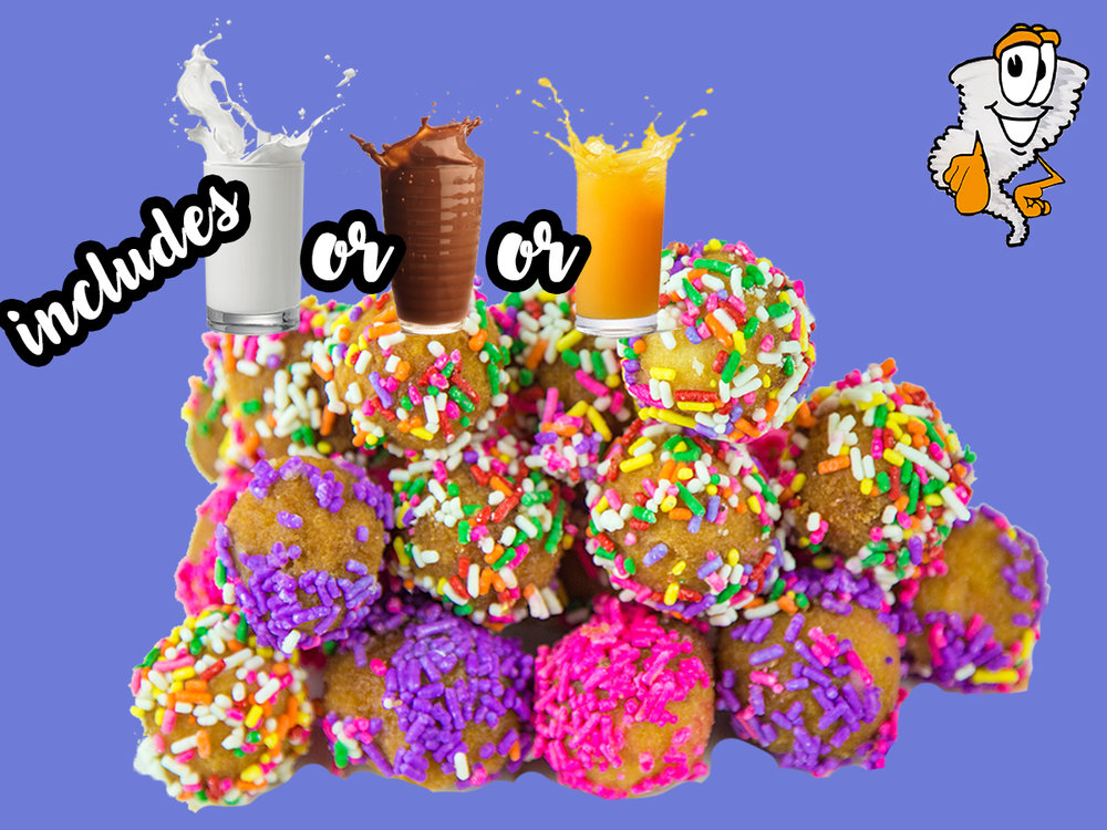 Twister Kids Combo 1 - Includes one small drink(milk, chocolate milk or juice)$2.50 7 donut holes - $3.50 14 donut holes