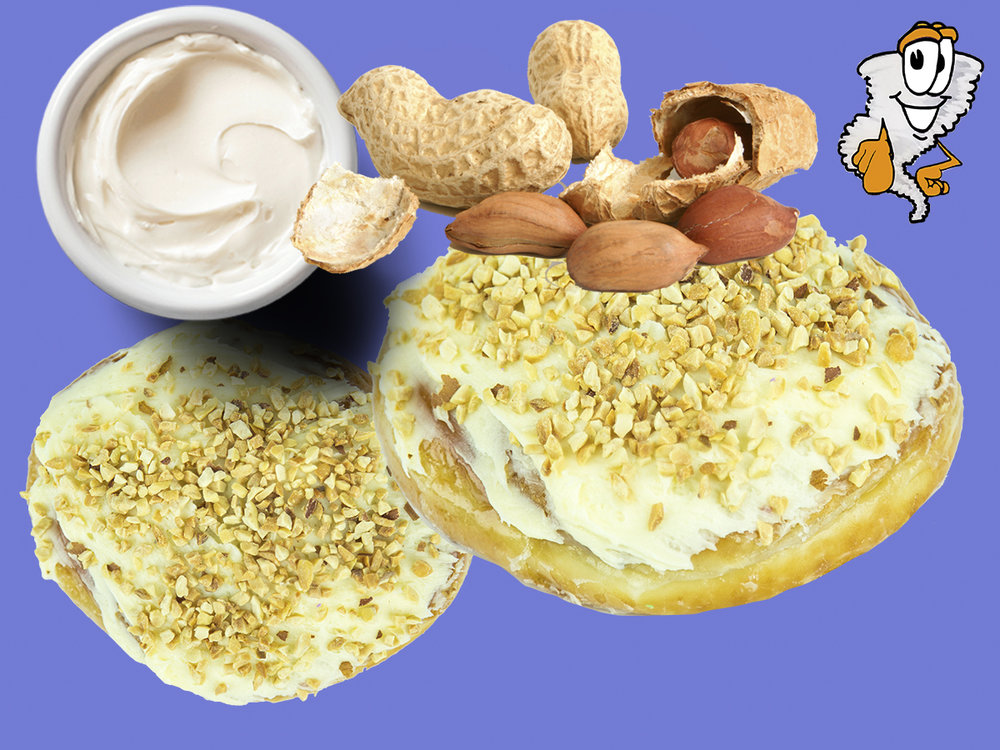 Cream Cheese & Nuts - A cinnamon roll or regular fritter with topping of cream cheese & nuts$3.49 each