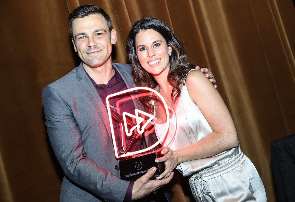 Brendan Gahan, EVP of Epic Signal and Hallie Harris, Managing Director of Epic Signal accepting the Digiday Video Award for Best Video Advertising Agency and Partner.