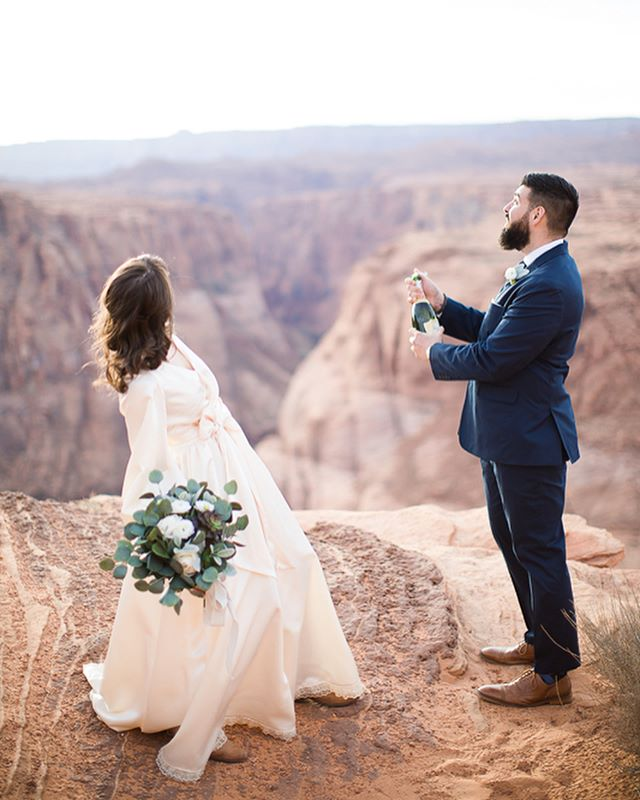 I love this series of Matt & Maggie on their wedding day last week! 🍾💗 Happy Valentine's Day to these Texas newlyweds who flew me to Arizona for their epic elopement in the desert. I was their photographer, but by the end of the day they made me feel like family with tacos and whiskey by the campfire and lots of southern storytelling and laughter. 🔥🥃 ⠀⠀ My apologies in advance for the overload of photos you're soon to see from this wedding. 🙃