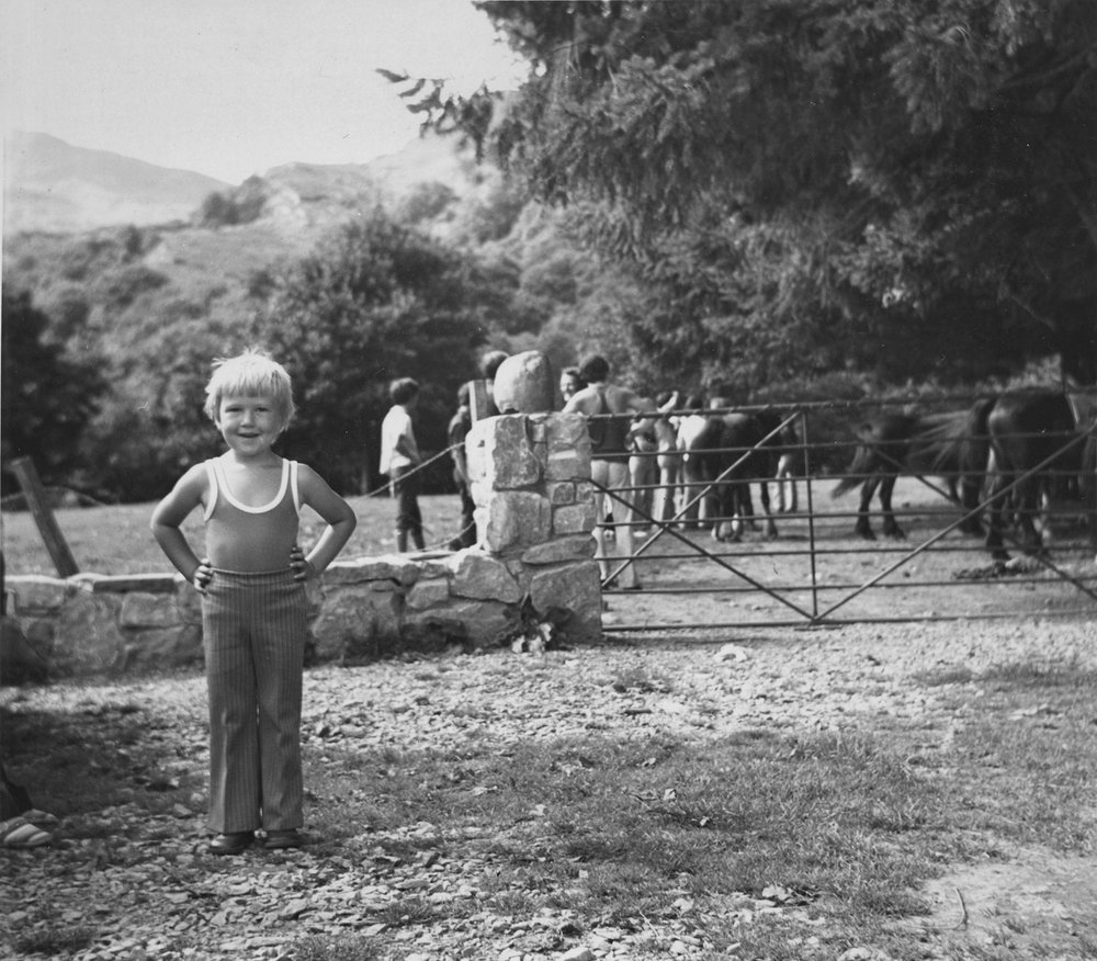 Wales - just before a horse riding adventure. A family story that still gets told even today. (That's not me by the way, I'm holding the camera)