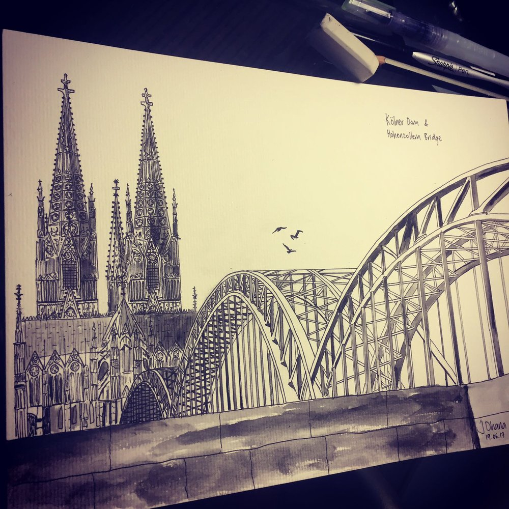 Jason's artwork, Sharpie and Watercolour, Cologne, Germany, 2017.