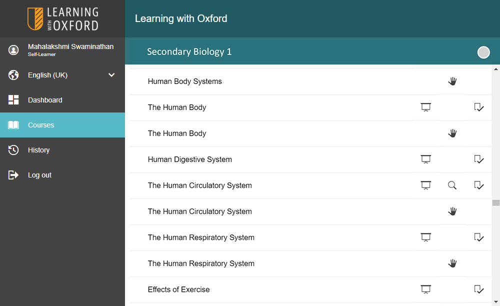 Accessing Lessons - By signing-up you'll be automatically registered into your own class and assigned subjects based on the courses you've chosen. You can then complete lessons in the order you choose.