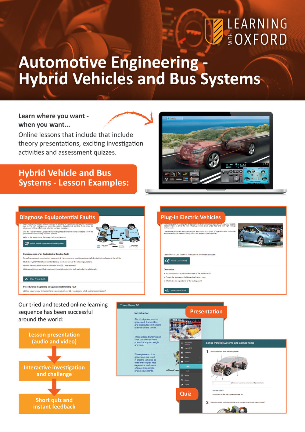 What lesson topics are covered with the full licence? - Take a look at our Hybrid Vehicles and Bus Systems InfoSheet to see the topic listing.