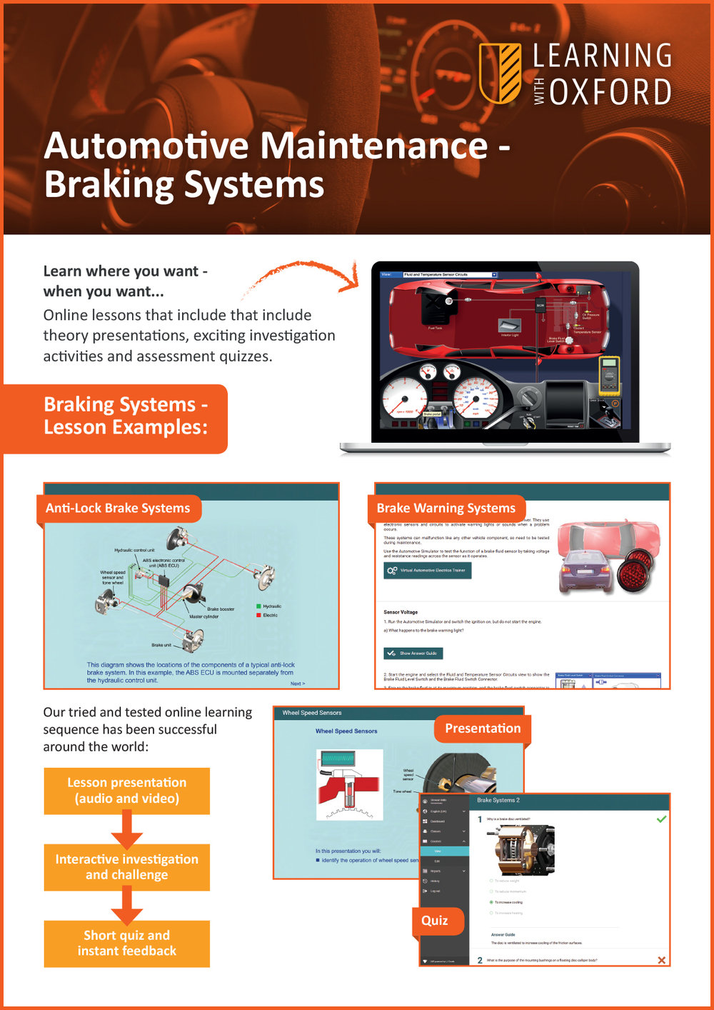 What lesson topics are covered with the licence? - Take a look at our Braking Systems InfoSheet to see a full topic listing.