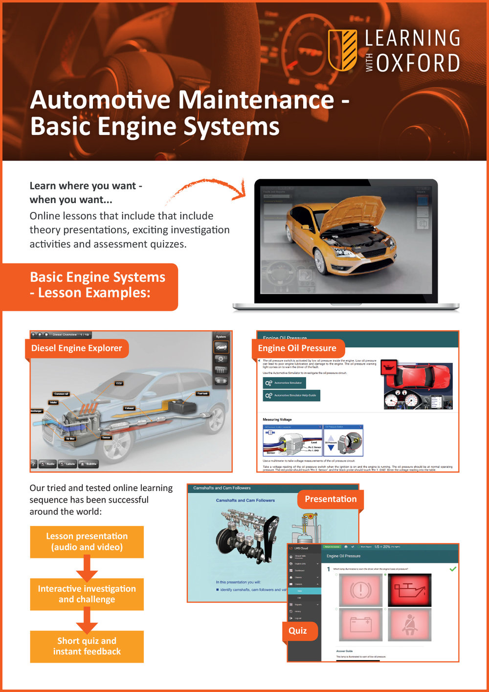 What lesson topics are covered with the licence? - Take a look at our Basic Engine Systems InfoSheet to see a full topic listing.