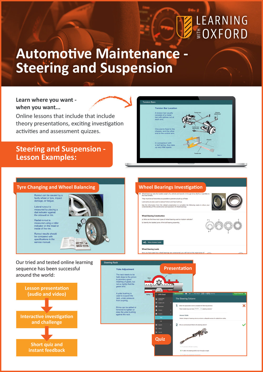 What lesson topics are covered with the licence? - Take a look at our Steering and Suspension InfoSheet to see a full topic listing.