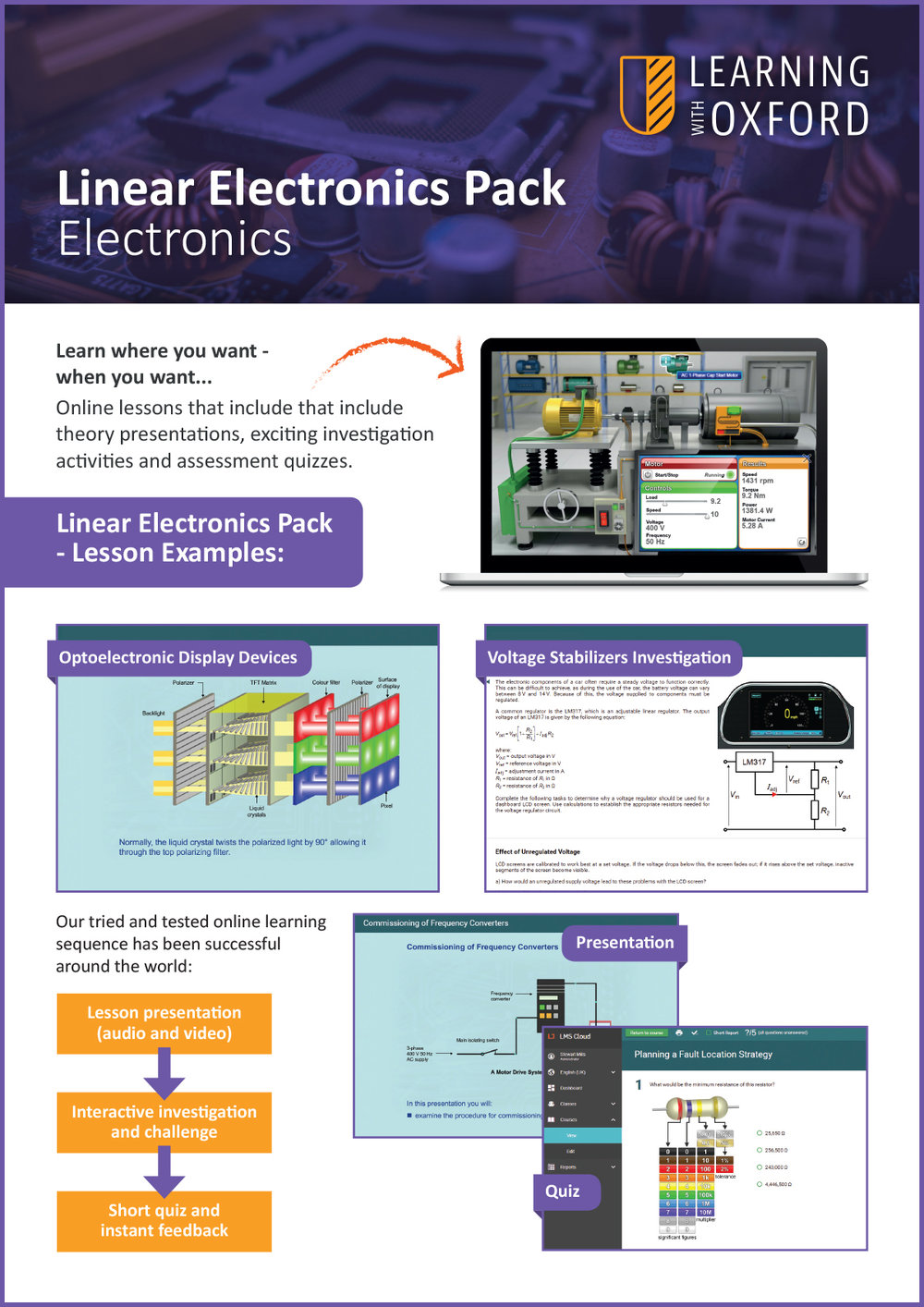 What lesson topics are covered with the licence? - Take a look at our Linear Electronics InfoSheet to see a full topic listing.