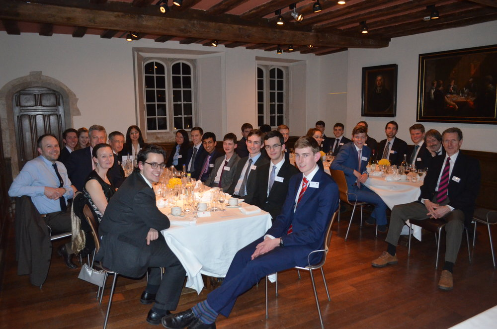 Enjoying a three course meal at Jesus College