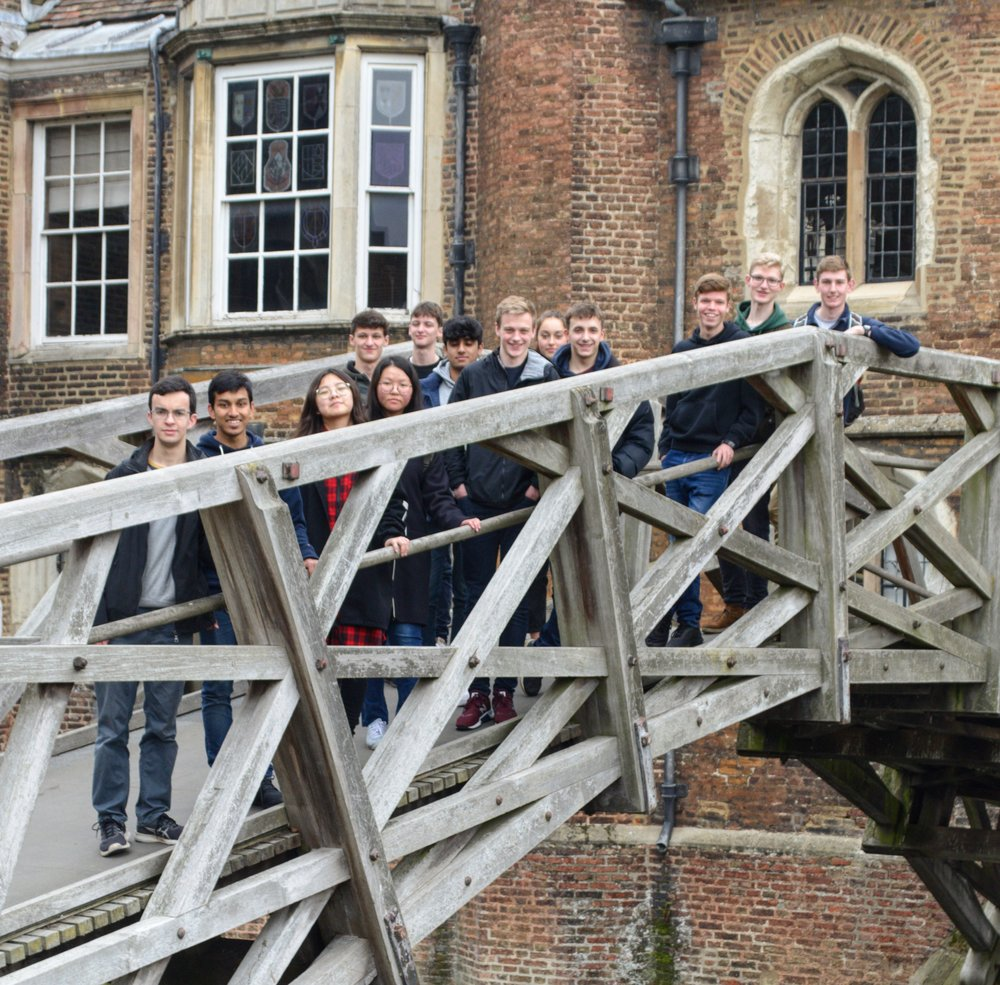 OE Toby Speirs showing our budding Oxbridge students around Queens' College