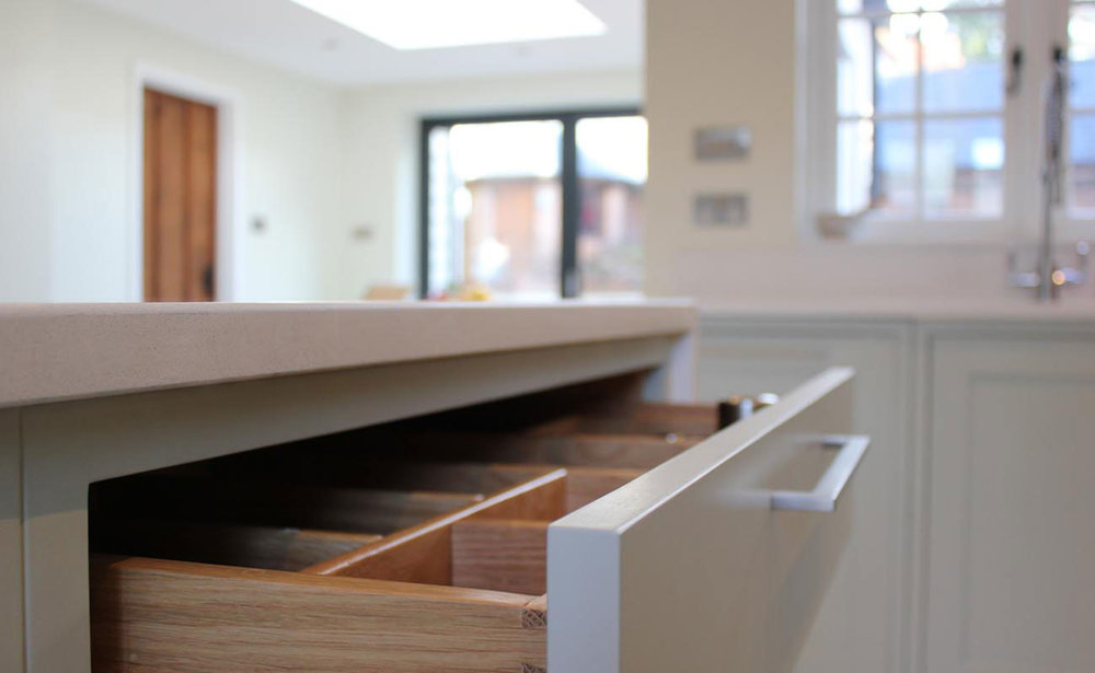 Solid oak drawer // Shaker kitchen in Farrow & Ball Mizzle with quartz worktops