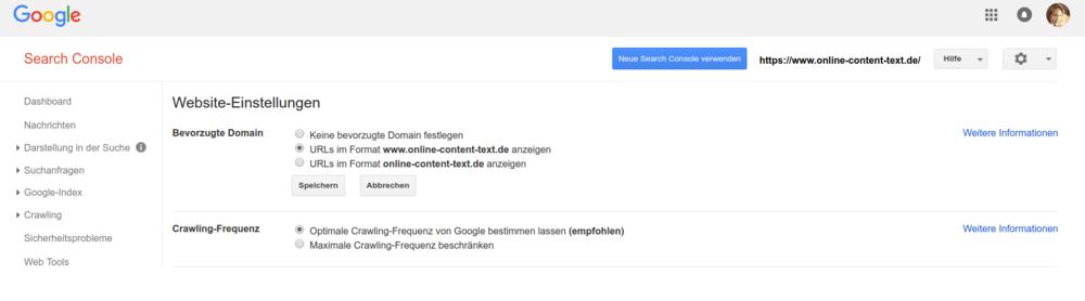 Domain-Umleitung mit der Google Search Console