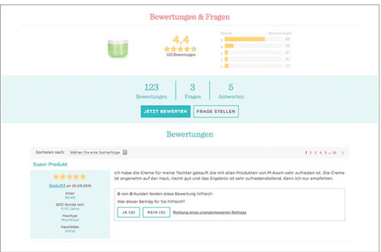 QVC zeigt Bewertungen & Fragen gleich im oberen Bereich der Website: eine gute Methode, um unsichere User von Anfang an zu catchen!