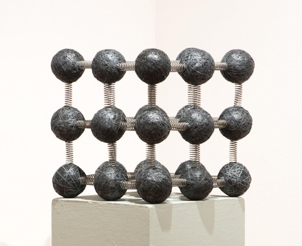 Phonon, interactive kinetic sculpture, recycled inner tubes, springs, 17x17x17