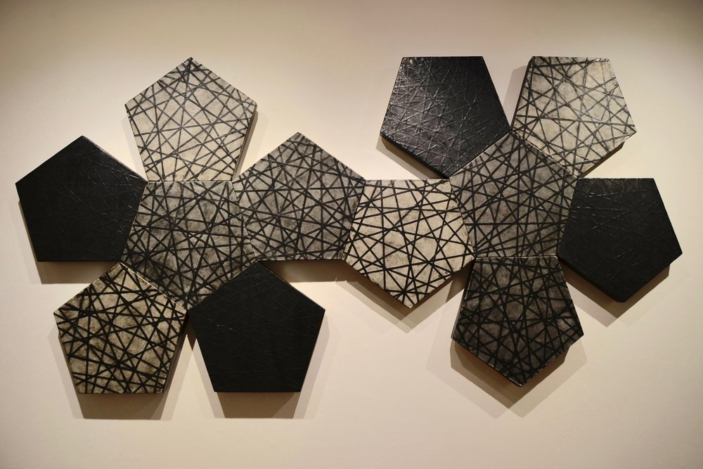 Dodecahedron, encaustic on panel, 50x100