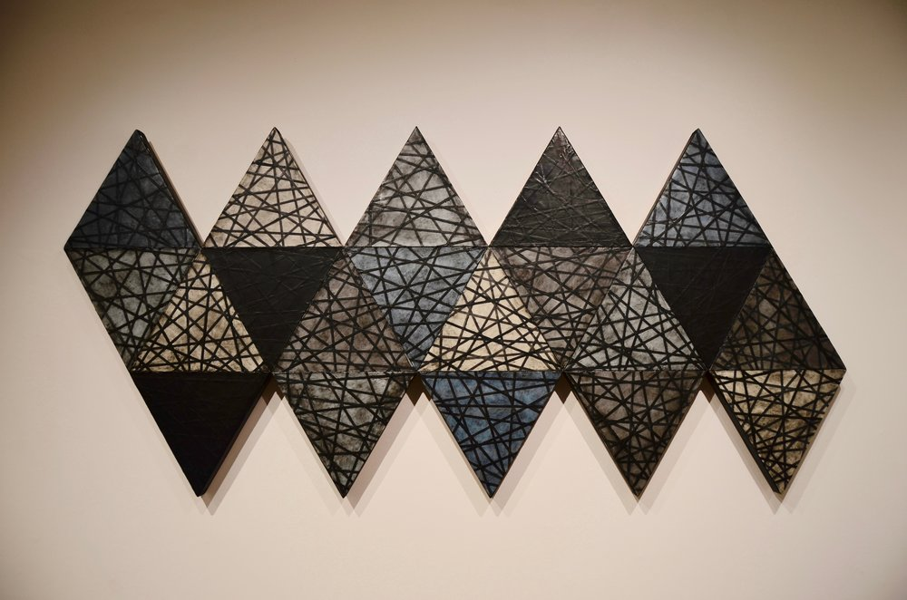 Icosahedron, encaustic on panel, 42x90