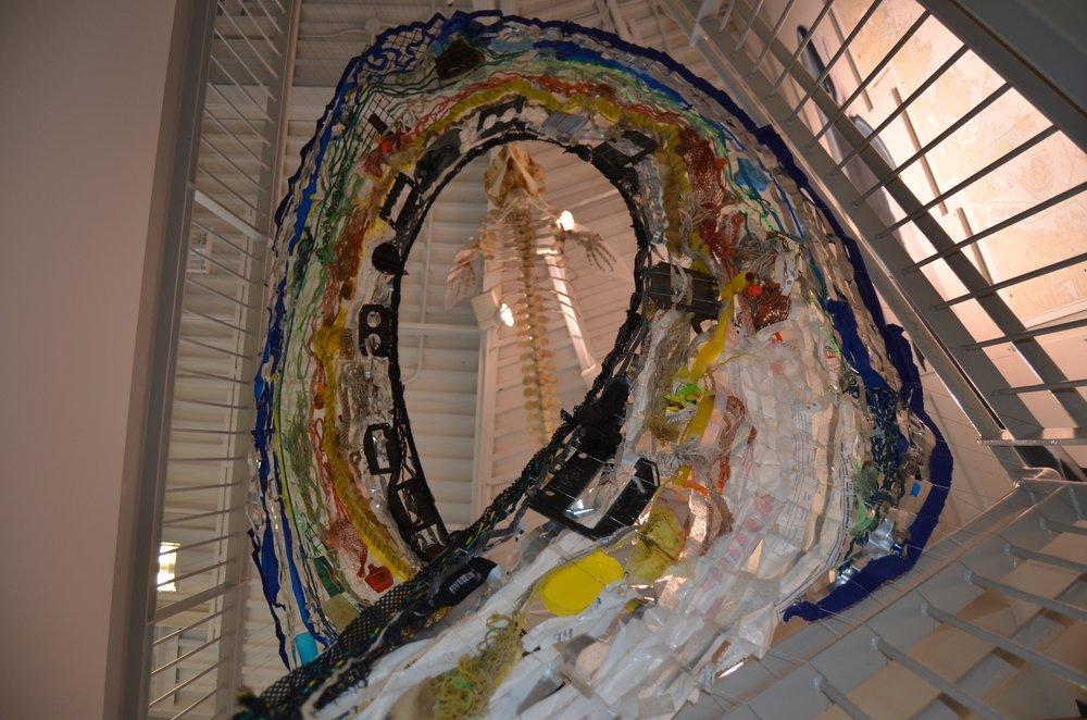 Clean Ocean Wave Sculpture (COWS), ocean debris, installation at the University of New England