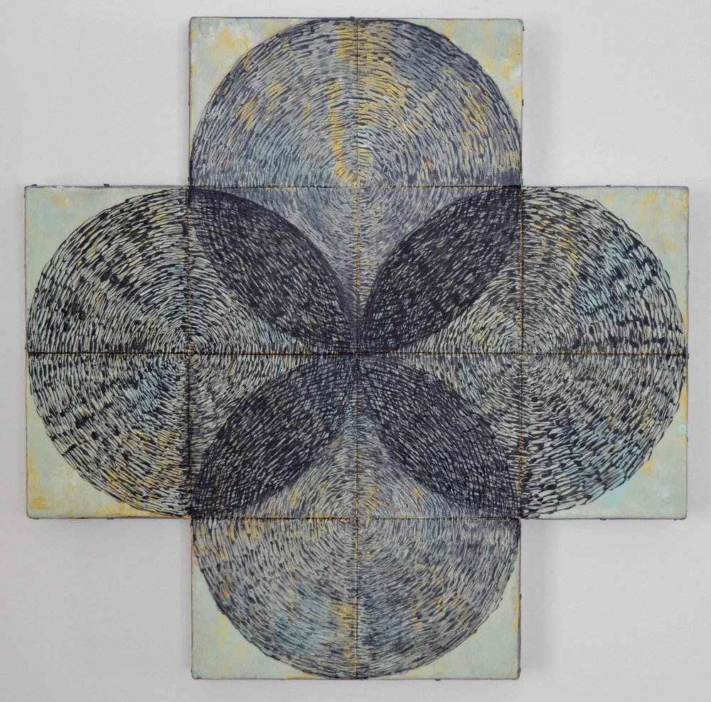 Overlap, encaustic on shaped panel, lead, 24x24