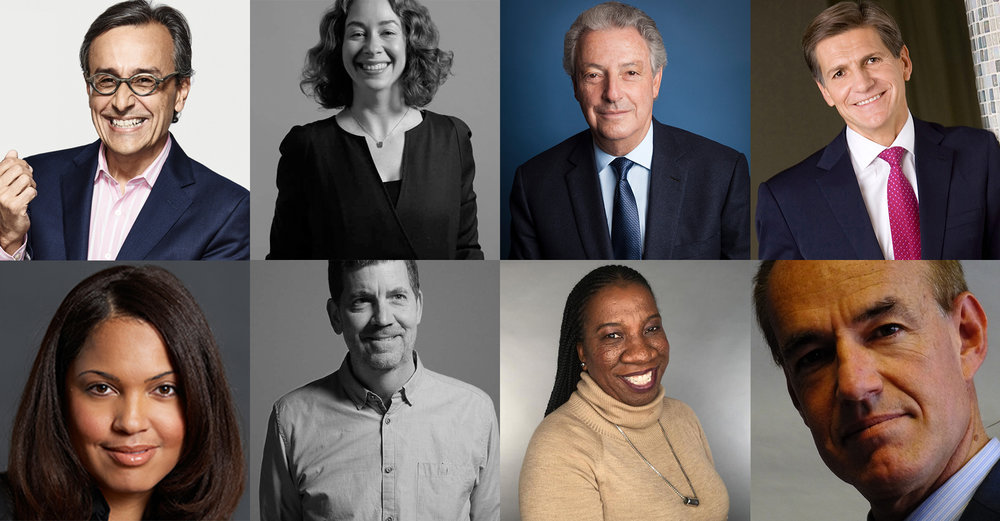 Clockwise from top left:  Antonio Lucio, Chloe Gottlieb, Michael Roth, Marc Pritchard, Marco Lambertini, Tarana Burke, Stephen Plumlee, Danielle Lee