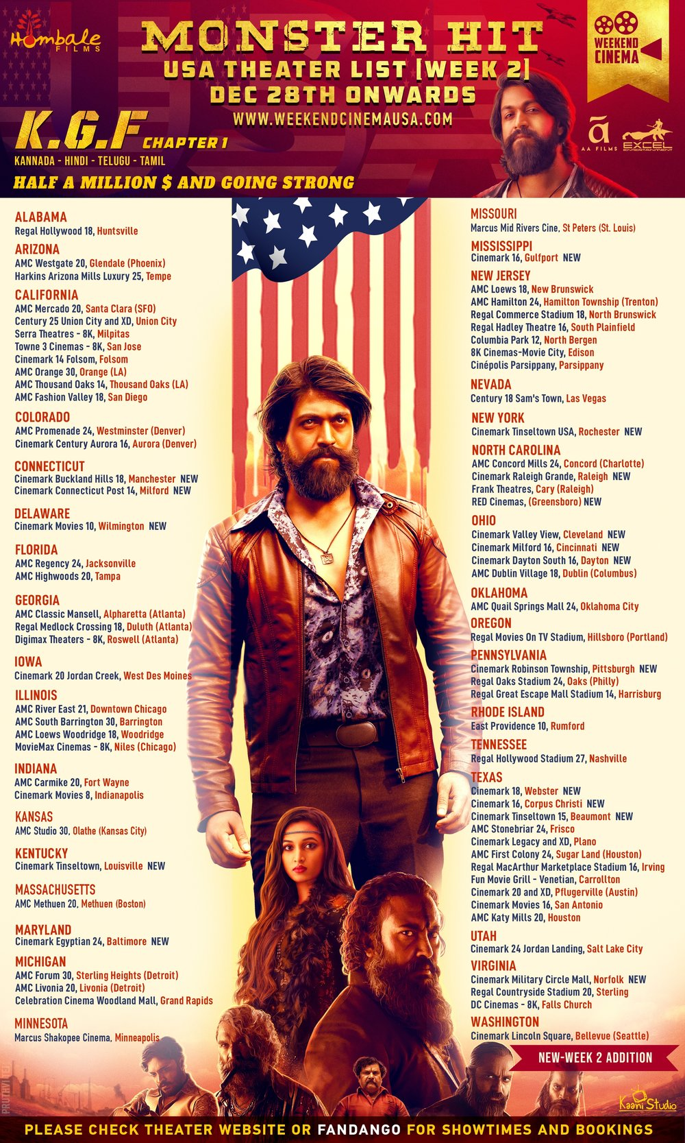 KGF_USA_Release Poster (Second Week) WK2