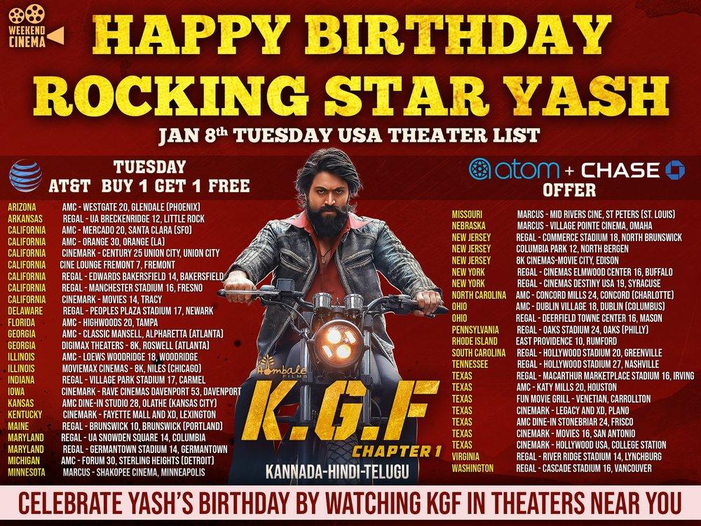 KGF - YASH BIRTHDAY - USA Theaters List