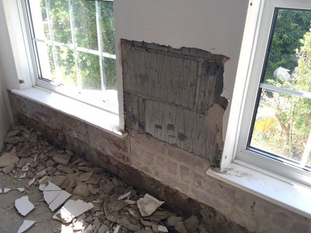 The Incident - Water damage to the kitchen of Mr Kinch's cottage property had become visible over a number of months. When discussing the claim he had mistakenly used the word 'dampness' to the insurance loss adjuster on the day of his visit so insurers repudiated his claim (kicked it out) as damp is not an insured peril. They stated it was probably rising damp. They would not budge.