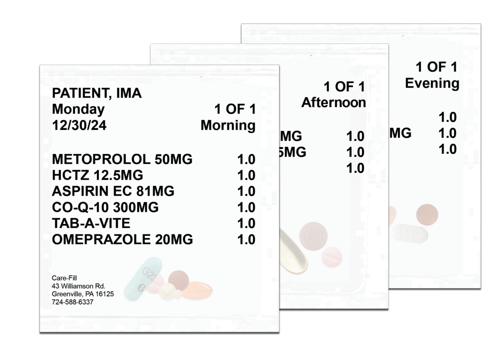 Care-Fill Packets make it easy to take your medication at the right time of day.