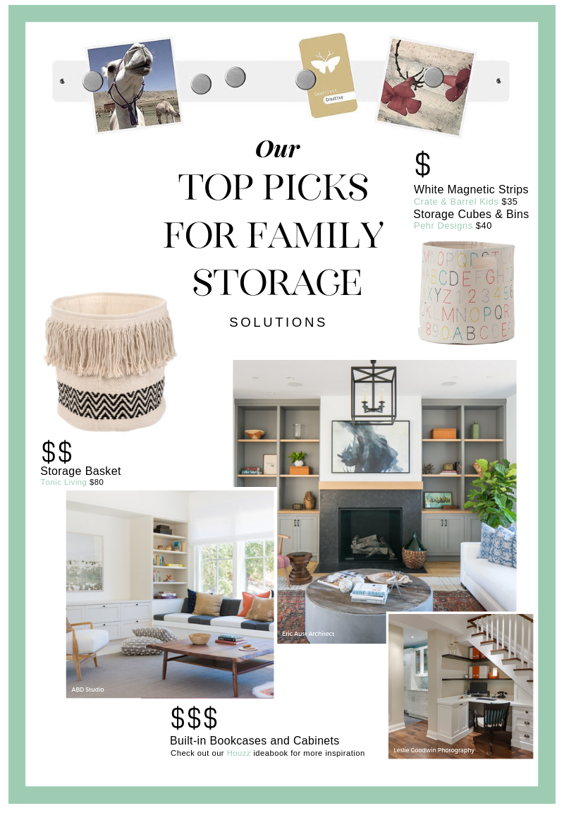 [White Magnetic Strips from  Crate & Barrel Kids  and  Amazon.ca  $35] [Pehr Designs  Storage Cubes  $40] [Baskets from  Tonic Living  $80] [Built ins, built ins, built ins!! Check out our  Houzz ideabook  for great inspiration]