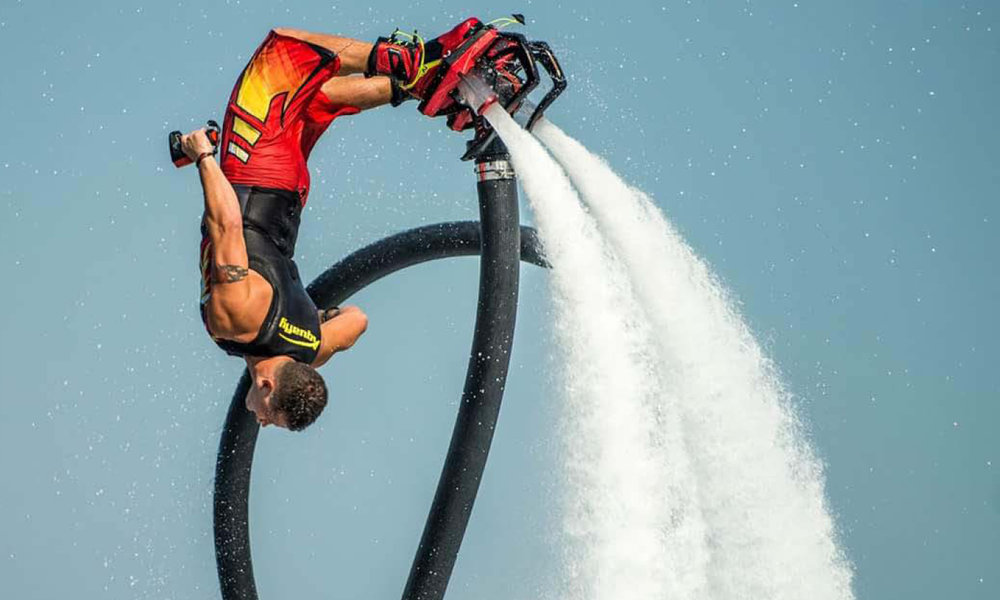 The crew of Motoryacht Sweet Escape is trained by professional Flyboard® Athlete and Master Instructor Rush Bragg.