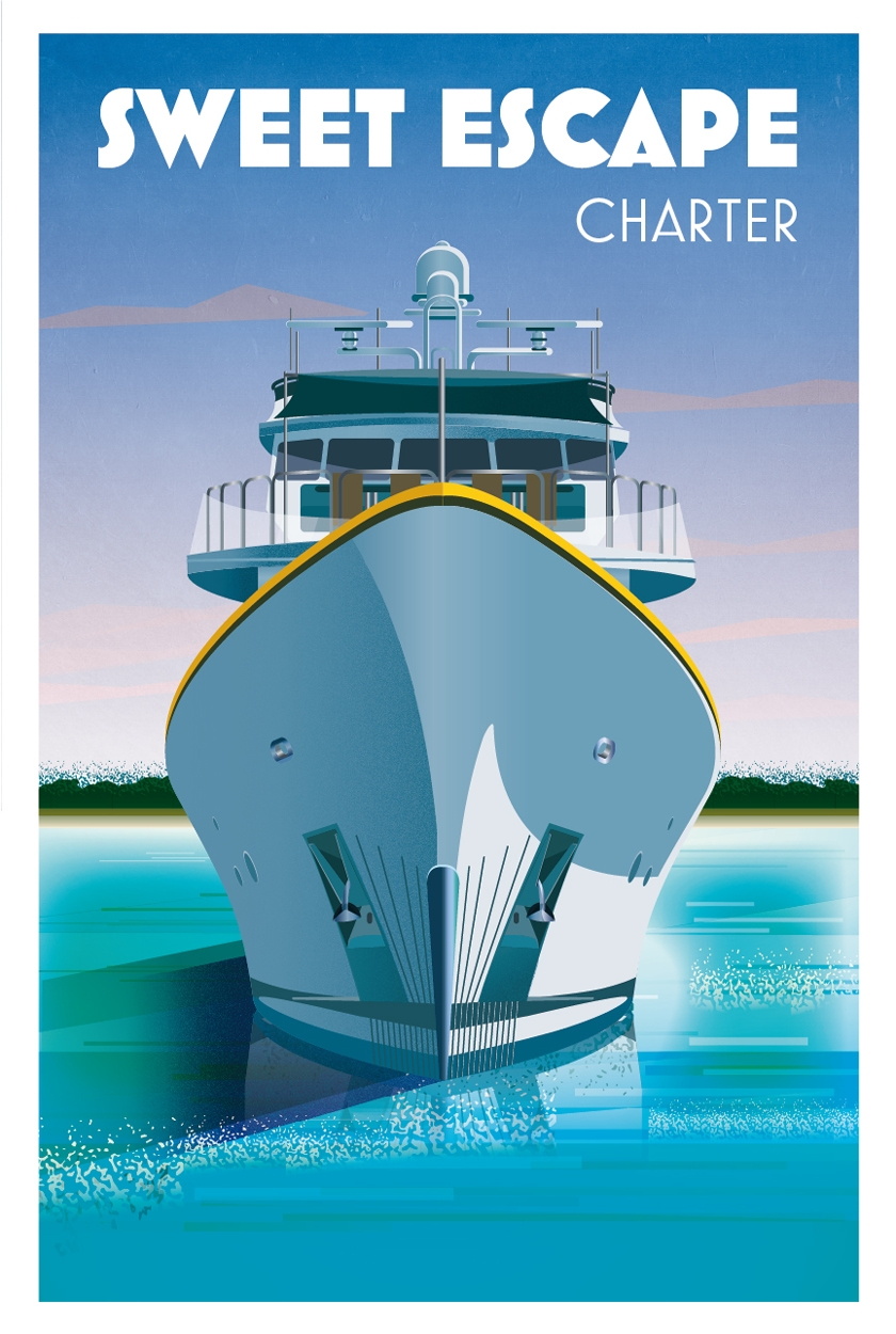 Yacht Sweet Escape Art Deco Poster © Jeremy Cartwright