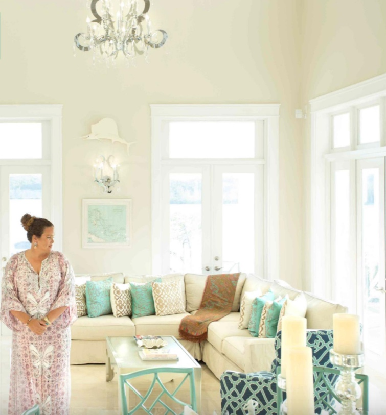Interior Designer of Yacht Sweet Escape, Ghandi Knowles, of Bahamas Property Services. Interior Designer and Property Developer, Ghandi Knowles lends her unmistakable design style to each project wether in the sun, sea or snow.