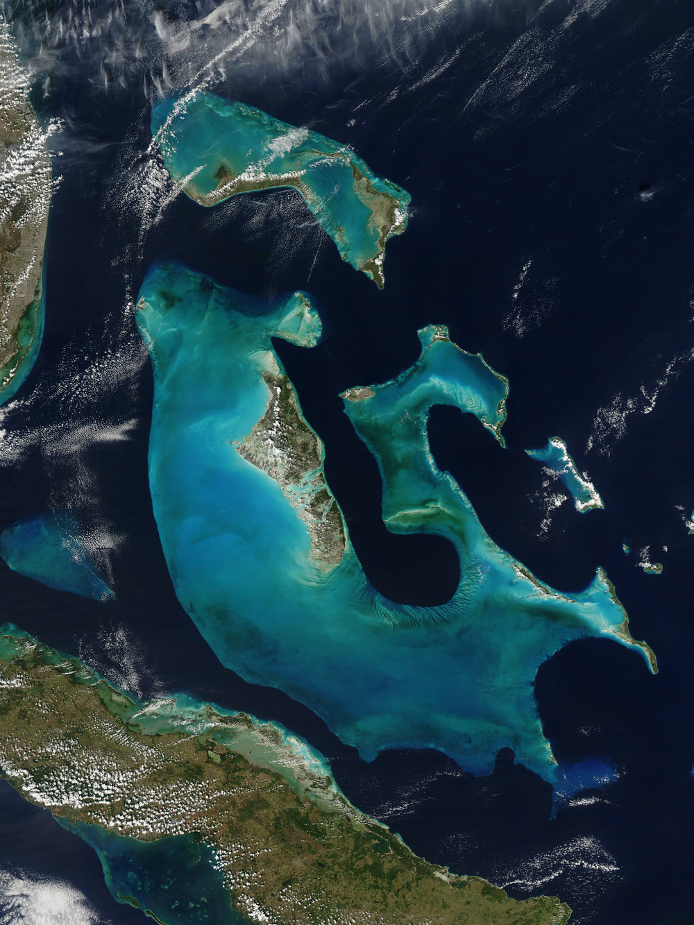 The Bahamas and its 3 major Banks and deep drop offs, in the Atlantic Ocean.