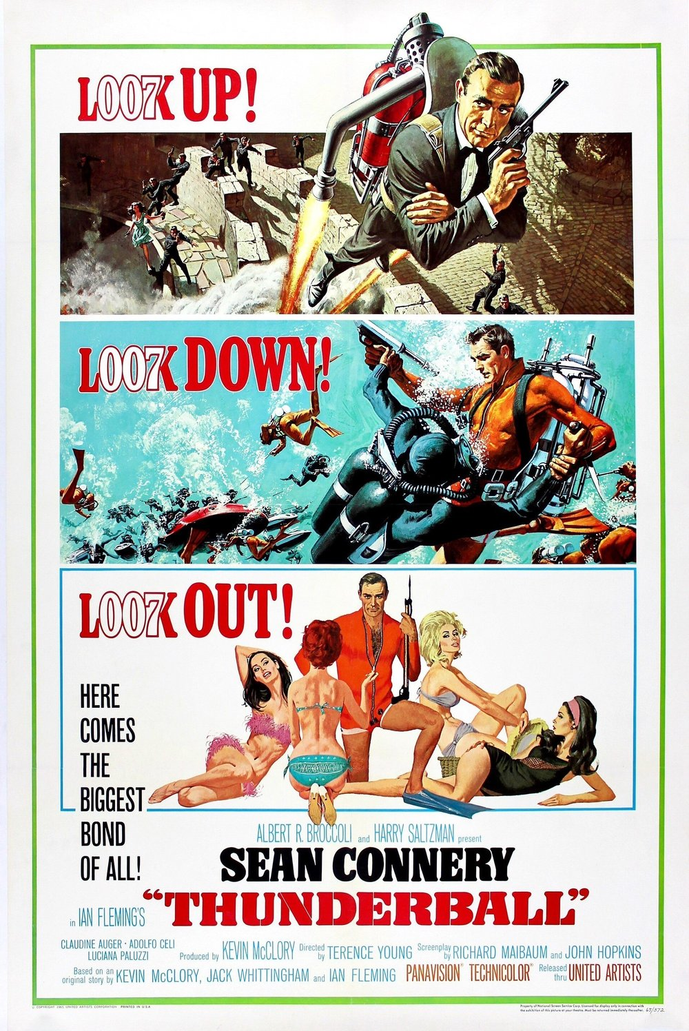 Cinema Poster for Thunderball, Original hanging in the sky-lounge onboard Yacht Sweet Escape. Original Bond film posters are highly collectable.