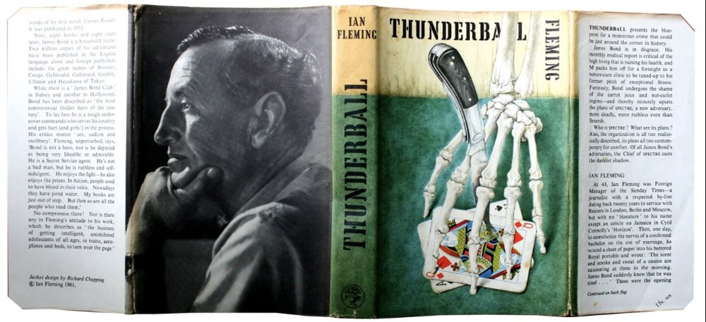 Dust Jacket for  Thunderball  by artist Richard Wasey Chopping (14 April 1917 – 17 April 2008), a British illustrator and author best known for his painting the dust-jackets of the Ian Fleming's James Bond novels. His illustrations covered 9 novels from 1957 to 1966 for James Bond books by Ian Fleming and the cover of John Gardner's first Bond continuation novel,  Licence Renewed  (1981). Several original dust-jackets by Chopping are hung in the Ian Fleming/Sean Connery bedroom at Chalet Sweet Escape.