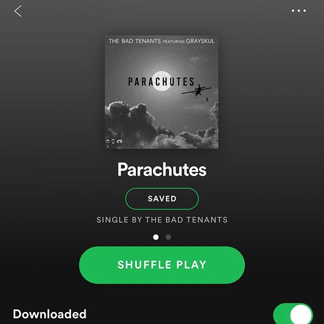 "It's out! Our new song ""Parachutes"" featuring Grayskul is out now on all platforms! Go bump the new 🔥🔥. Thanks for all your support family! Spotify link in bio."