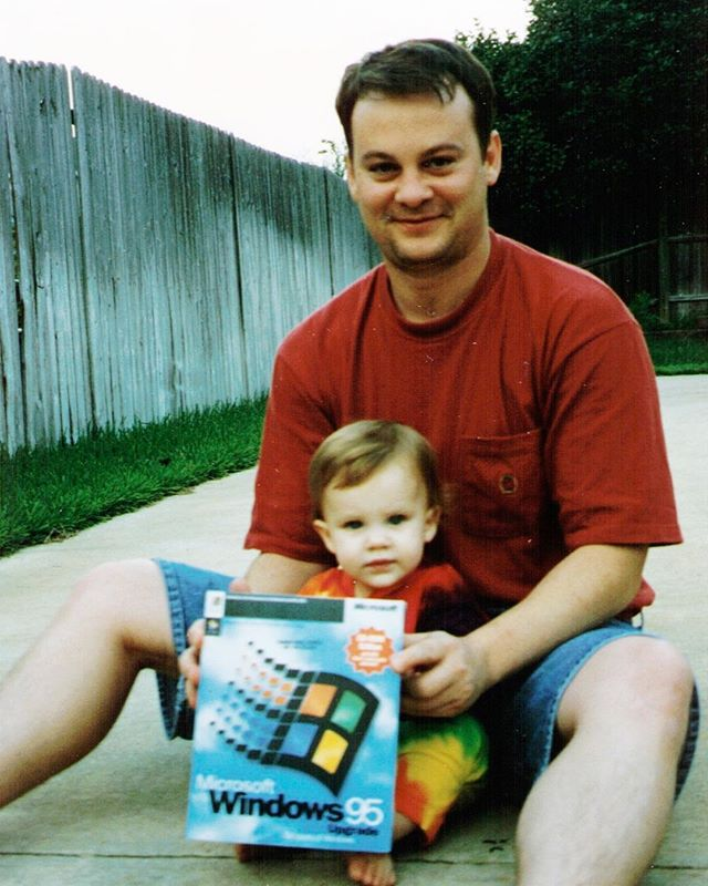 Me. My dad. & Windows 95 🤘🏻I was a Microsoft baby 🤣🤣🤣🤣🤣🤣 and yes the logo was literally tiled in our pool 👀😭