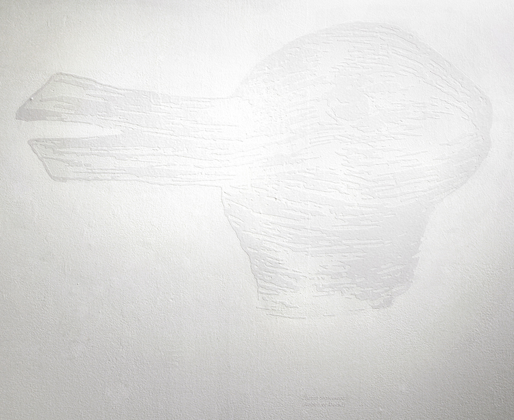 Artist Statement (Rabbit or Duck) , from  Duck or Rabbit?  series, white vinyl, 28 x 34 in.