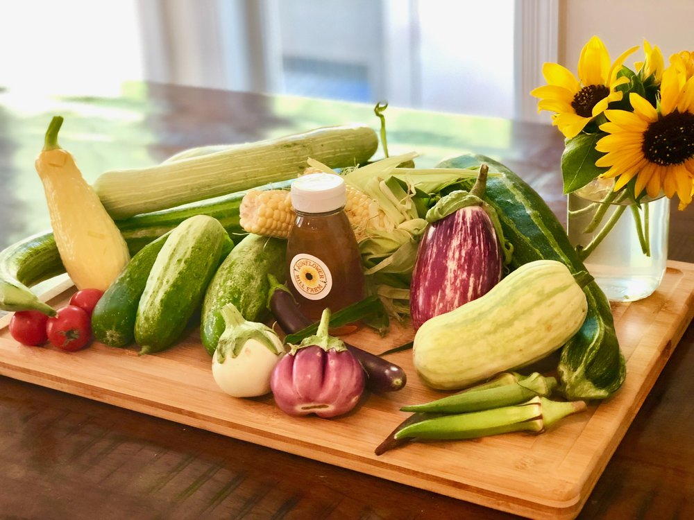Produce - Produce grown on the farm is available seasonally. We offer anything you could find in your grocery store and more! Our veggie stand is located at the entrance of