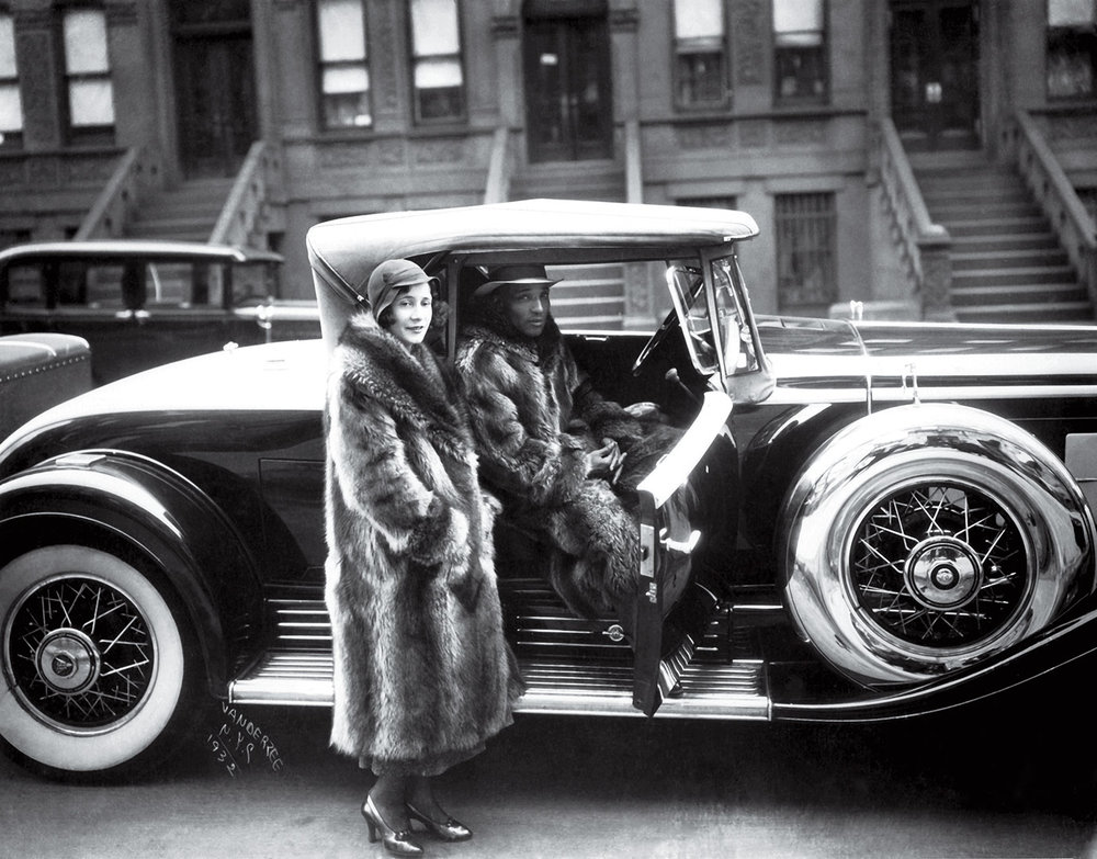 James Van Der Zee,  Couple with Racoon Coats , 1932, Silver gelatin print.