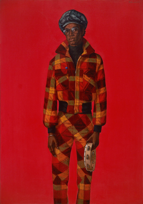 Barkley Hendricks,  Blood , 1975. Oil and acrylic on canvas, 72 x 50 1/2 in.
