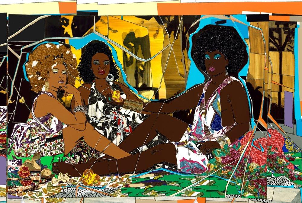 Mickalene Thomas,  Le Dejeuner sur l'herbe: Les trois femmes noires  (detail), 2010. Rhinestones, acrylic, and enamel on wood panel, 304.8 x 731.5 cm. The Rachel and Jean-Pierre Lehmann Collection © Mickalene Thomas