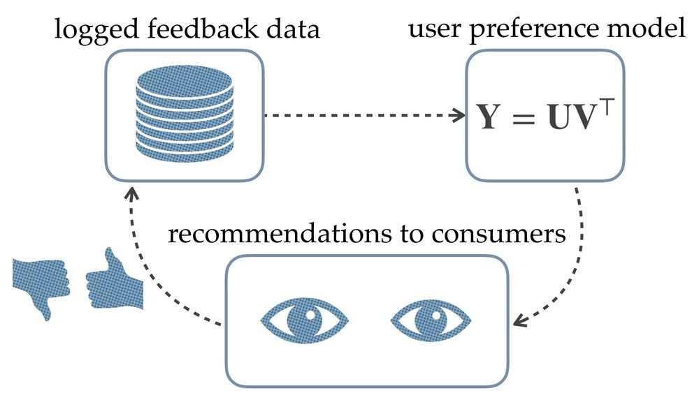 Figure 2. Feedback loops in existing recommender systems result in biased models.