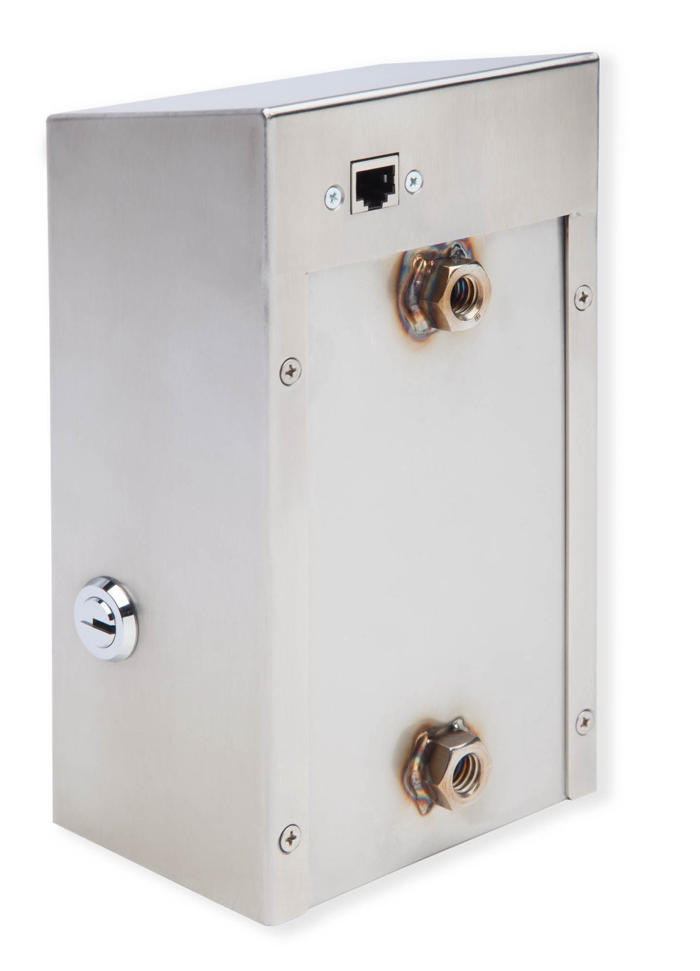 "4.63"" wide x 7.63"" tall and 3.5"" deep.  Threaded receivers on back for secure wall mounting."