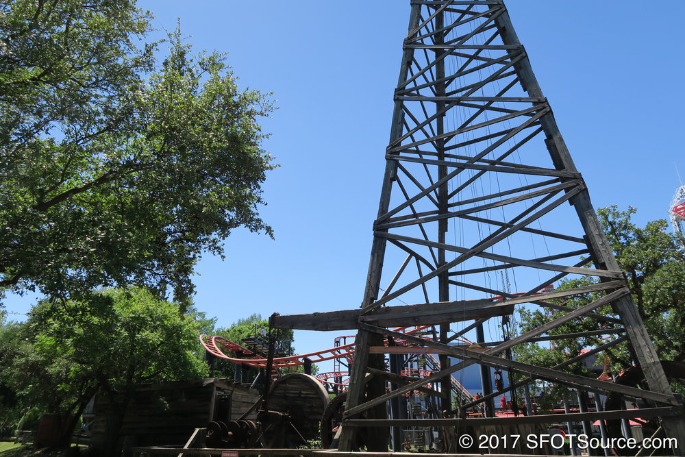 An oil derrick situated inside Boomtown.