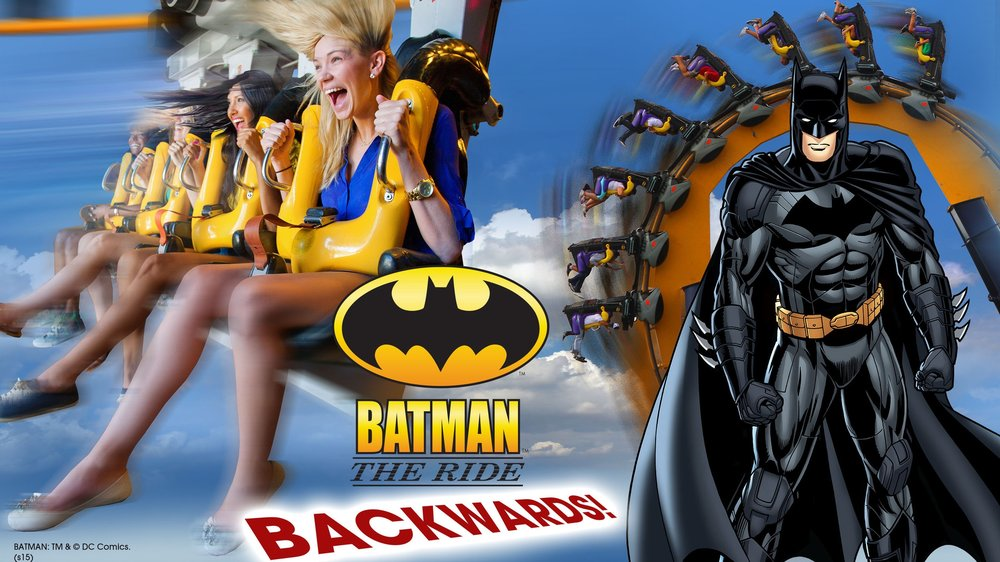 Batman Runs Backwards - In 2014, Six Flags Over Texas announced that Batman: The Ride would operate backwards as part of the ride's 15th anniversary celebration at the park.The park did not have special trains for the occasion nor did they simply flip the existing trains backwards. The Six Flags chain had a set of touring backwards trains that made their way to a number of parks in the chain.In the summer of 2014, the trains made their way to Six Flags Over Texas for a short stay but allowed guests to enjoy the ride in backwards fashion.