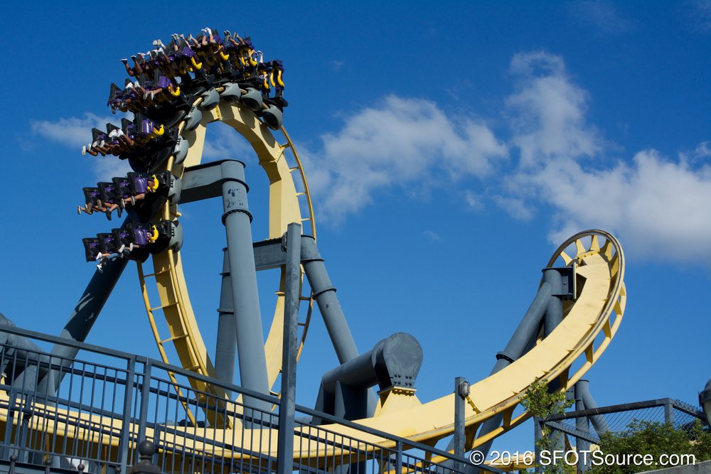 Riders travel through one of Batman: The Ride's loops.