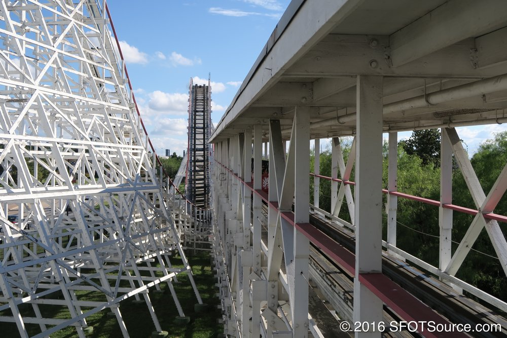 Judge Roy Scream is the only true all-wooden coaster located at Six Flags Over Texas.