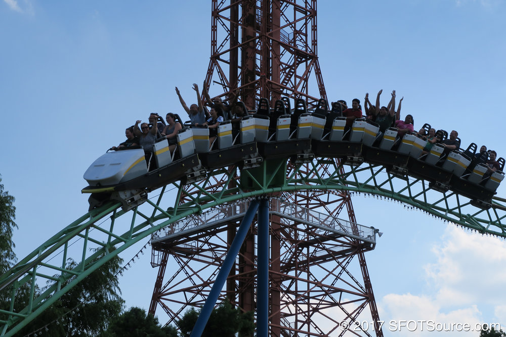 Guests enjoying airtime with Oil Derrick standing tall in the background.