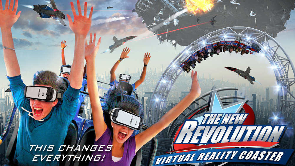 Virtual Reality - In 2016, the Six Flags chain added a brand new VR roller coaster concept to many of their parks. Six Flags Over Texas and Shock Wave were given the brand new feature that spanned through both the summer and fall months.For summer, the VR experience was named New Revolution and themed itself around jet fighters.During Fright Fest, the VR experience was shifted to Rage of the Gargoyles in which it carried some of the same summer theme but with the addition of gargoyles.The VR concept returns in 2017 and introduced mixed-reality technology. The theme is also brand new, entitled Galactic Attack.